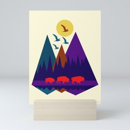 Three Bison Mini Art Print