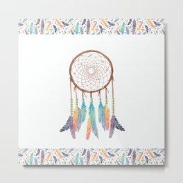 Gypsy Dreams Dreamcatcher on white with Gypsy Dreams Trim Metal Print