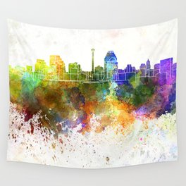 San Antonio skyline in watercolor background Wall Tapestry