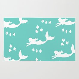 Mermaid Pattern Sea Green Rug