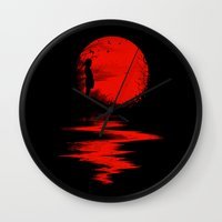 boy Wall Clocks featuring The Land of the Rising Sun by nicebleed