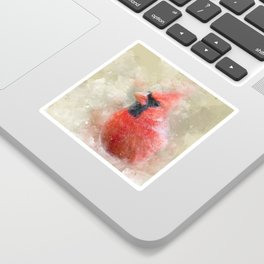 Northern Cardinal Watercolor Splatter Sticker