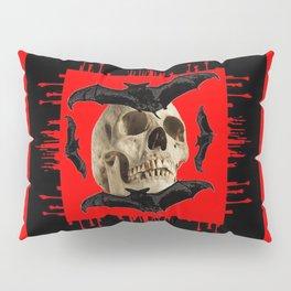 HALLOWEEN BAT INFESTED HAUNTED SKULL RED ART DESIGN Pillow Sham