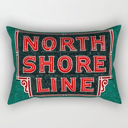 North Shore Line Vintage Neon Chicago Train Line Sign Red Lettering Chicago Rectangular Pillow