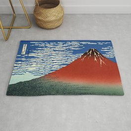 """Hokusai (1760–1849) """"Fuji, Mountains in clear Weather (South Wind, Clear Sky)(Red Fuji)"""" Rug"""