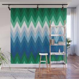 Zig Zag Green Blue Pattern                                                      Wall Mural