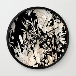 Black and White Flowers by Lika Ramati Wall Clock