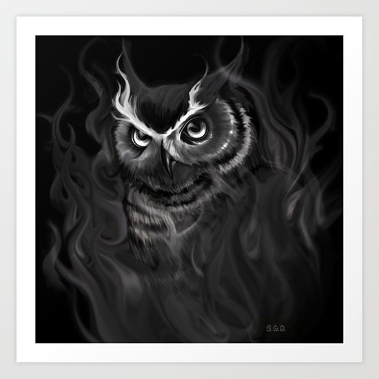 Owl Aflame Art Print