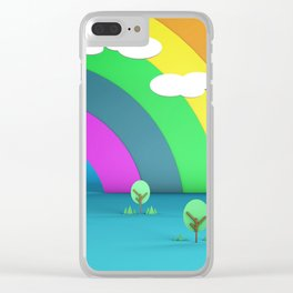 Rainbow Sky and Trees 3D Illustration Render Clear iPhone Case