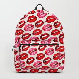 Lips Pattern - White Backpack