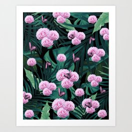 Tropical Peonies Dream #1 #floral #foliage #decor #art #society6 Art Print