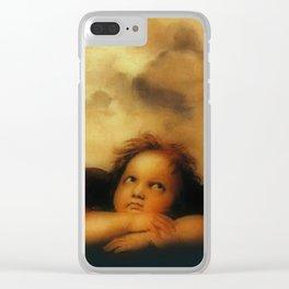 """Raffaello Sanzio da Urbino """"Sistine Madonna"""", 1513-1514 - angels (2) Clear iPhone Case"""