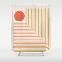 Lines & Circle 02 Shower Curtain