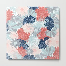 Floral Printing, Coral Aqua, Pink, Navy Blue, Gray, Colour Prints Metal Print