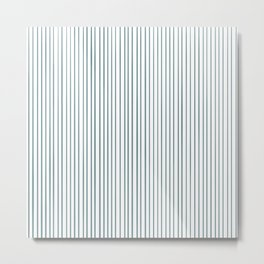 Aqua White Stripe Metal Print