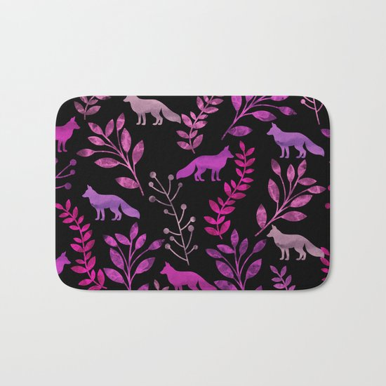 Watercolor Floral & Fox II Bath Mat