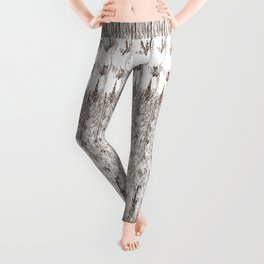 Feather Pattern | Bird Feathers | Brown and White | Leggings