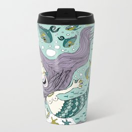 Quirky Mermaid with Sea Friends Travel Mug
