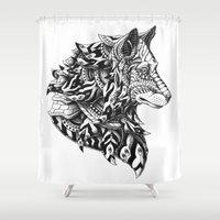 bioworkz Shower Curtains featuring Wolf Profile by BIOWORKZ