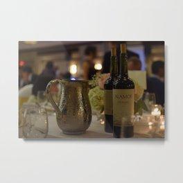 Pitcher & Red Wine Bottles Metal Print