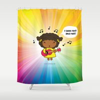 rock n roll Shower Curtains featuring I love Rock N' Roll by Pigtails