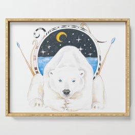 Polar Bear King Of North Watercolor Serving Tray