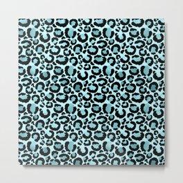 Light Blue Leopard Print  Metal Print