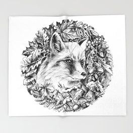 "Autumn fox. From the series ""Seasons"" Throw Blanket"