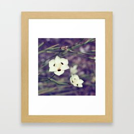 White Flowers with Orange & Black Detail Framed Art Print