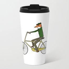 Mr. Fox on a Bicycle Metal Travel Mug