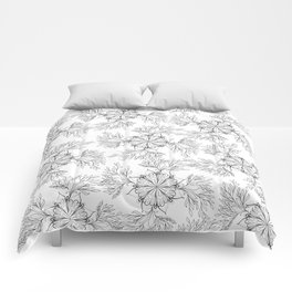 Hand painted black white abstract floral mandala Comforters