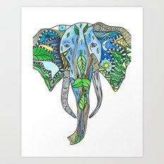 Tatoo Elephant Art Print