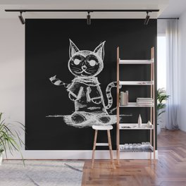 black cat kuroneko ecopop Wall Mural