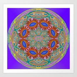 Indigo Glow Crown Chakra Mandala Art Print