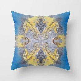 Earth Mandala 02 - Colorful Blue Yellow Abstract Art Throw Pillow