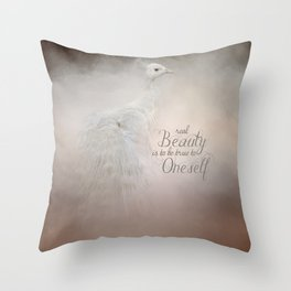 Real Beauty is to be True To Oneself White Peacock Throw Pillow