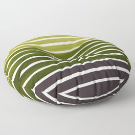 Watercolor Gouache Mid Century Modern Minimalist Colorful Olive Green Stripes Floor Pillow