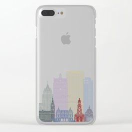 Milwaukee skyline poster Clear iPhone Case