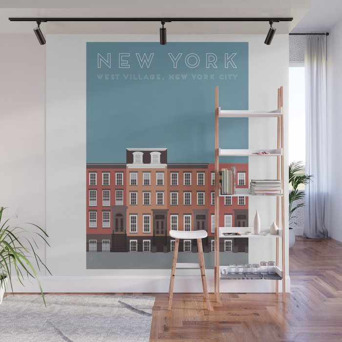 West Village New York Nyc Travel Poster Wall Mural By Carrielymandesigns