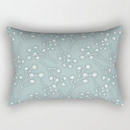Baby's Breath Flower Pattern - Grey Green Rectangular Pillow