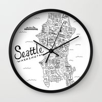 seattle Wall Clocks featuring Seattle Map by Claire Lordon