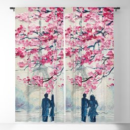 Couple of lovers under an umbrella, Paris, Eiffel Tower. Romantic oil painting on canvas, modern art Blackout Curtain