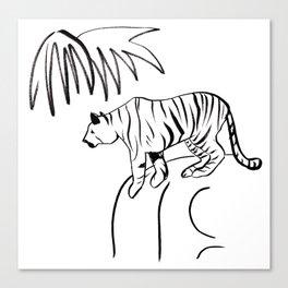Tiger On A Rock Canvas Print