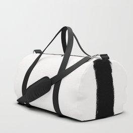 Square Strokes Black on White Duffle Bag