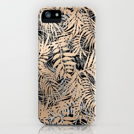 Abstract gold silver tropical leaf pattern iPhone Case