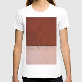 Minimal and abstract aerial view of a red and pastel Salt Lake in Italy – Landscape Photography T-shirt