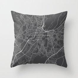 Belfast Map, Northern Ireland - Gray Throw Pillow