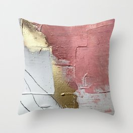 Darling: a minimal, abstract mixed-media piece in pink, white, and gold by Alyssa Hamilton Art Throw Pillow