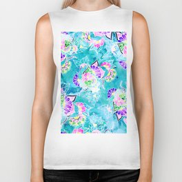 Turquoise blue floral bright spring summer boho illustration pattern Biker Tank