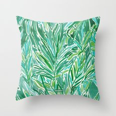 FUNKY JUNGLE Green Palm Pattern Throw Pillow